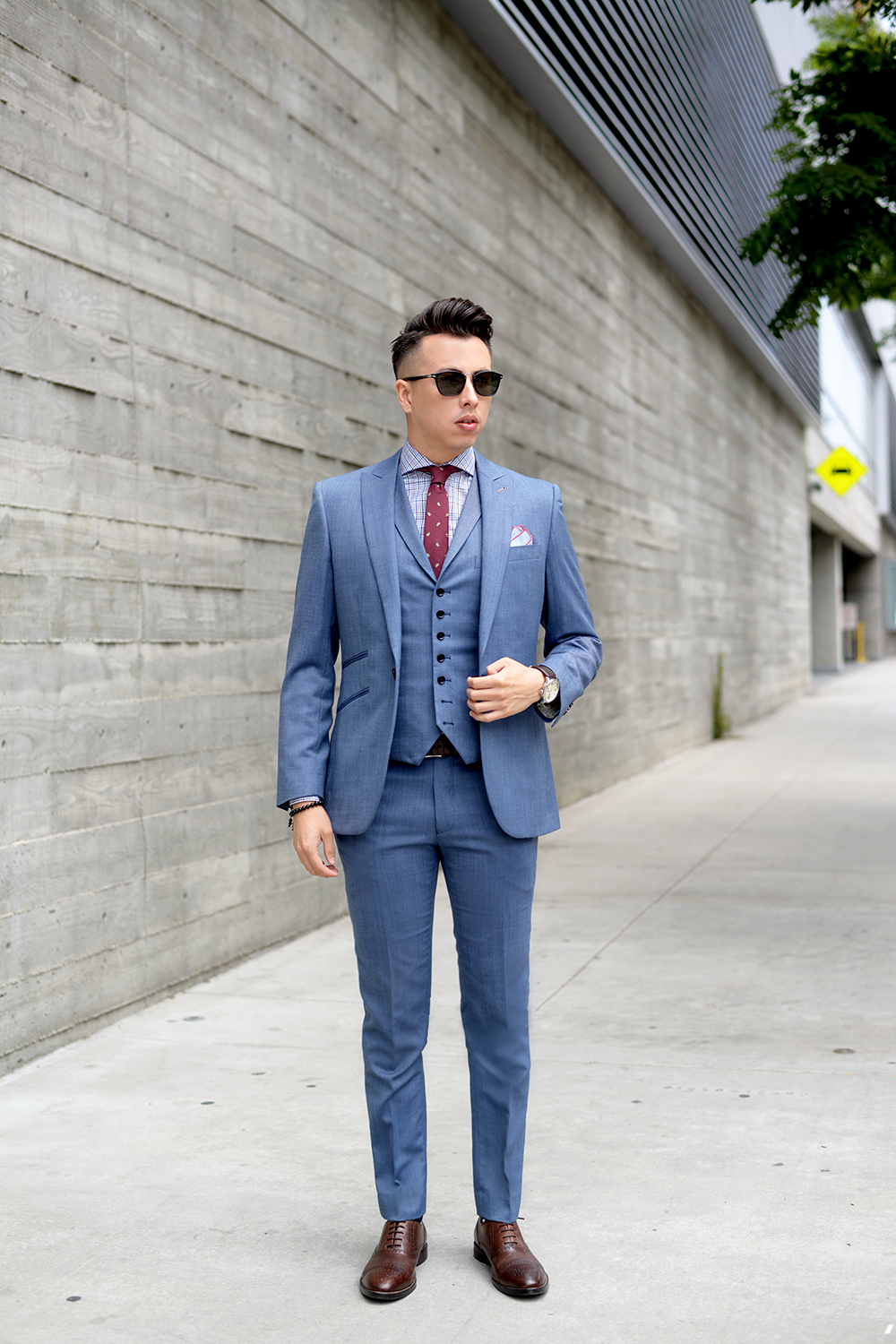 light gray suit brown shoes socks style guru fashion